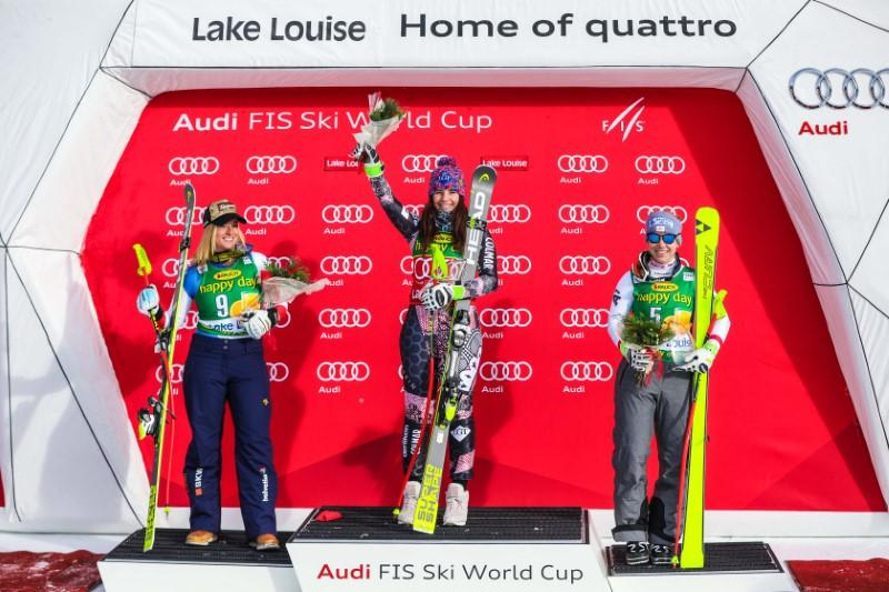 Lake louise super-g podium