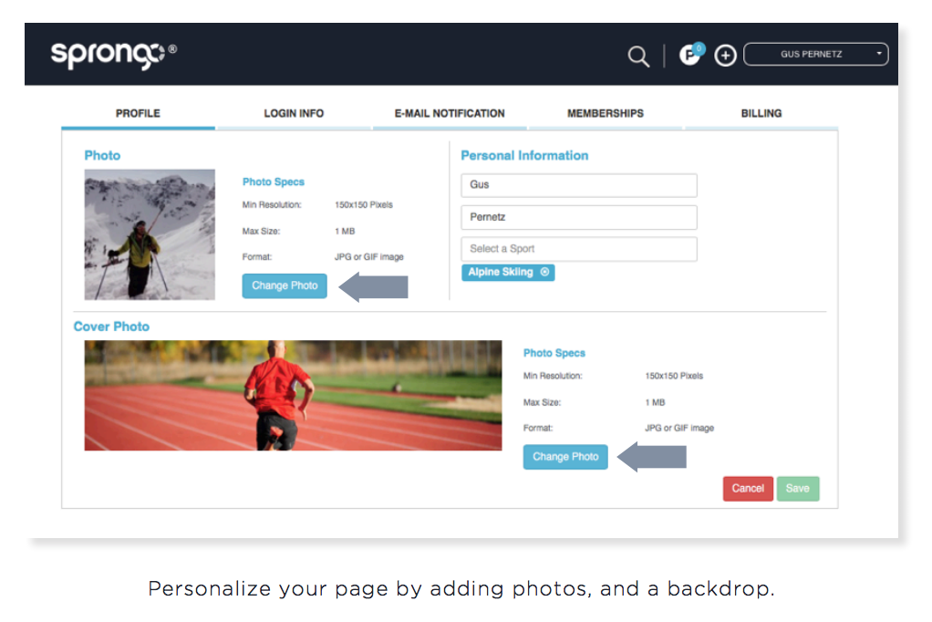 Sprongo How to - personalize your page
