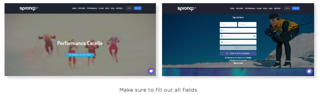 Sprongo How to - sign up